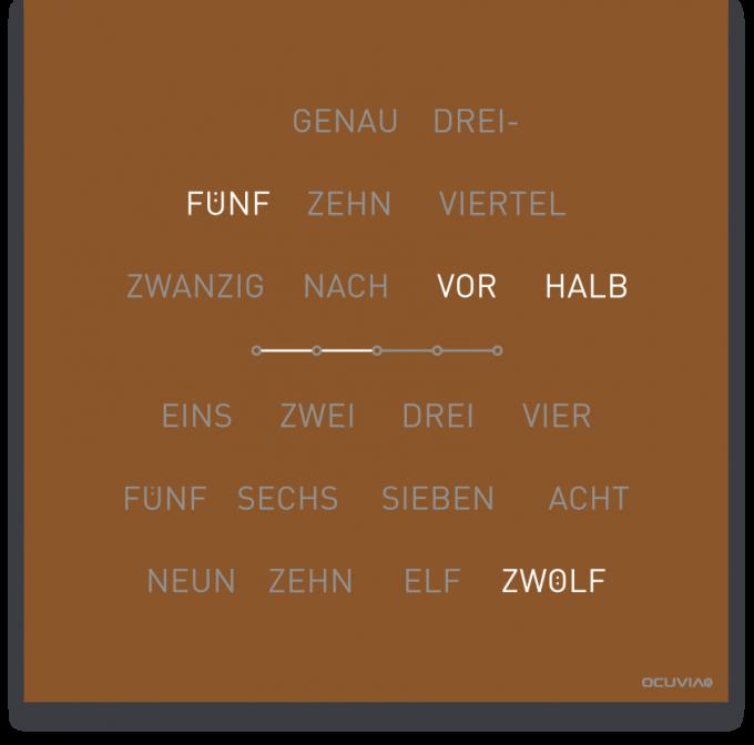 OCUVIA® · Wortuhr Lisa · Kupfer matt · Wortuhren-Manufaktur Berlin