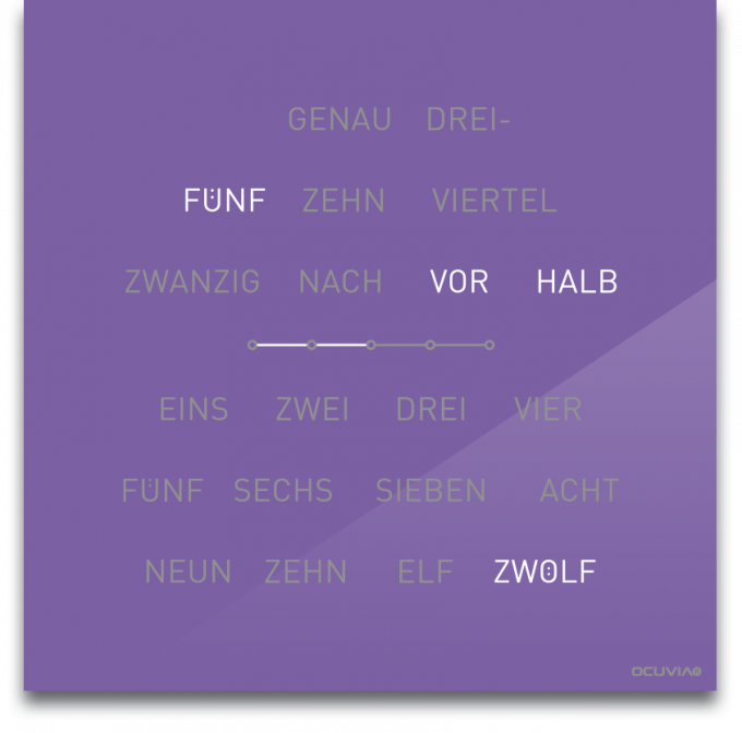 OCUVIA® · Wortuhr Lisa · Lavendel glänzend · Wortuhren-Manufaktur Berlin