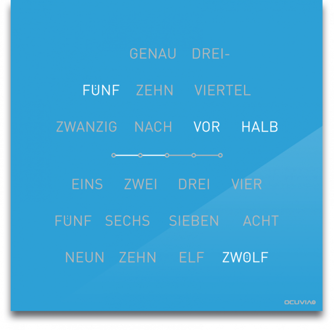 OCUVIA® · Wortuhr Lisa · Lichtblau glänzend · Wortuhren-Manufaktur Berlin