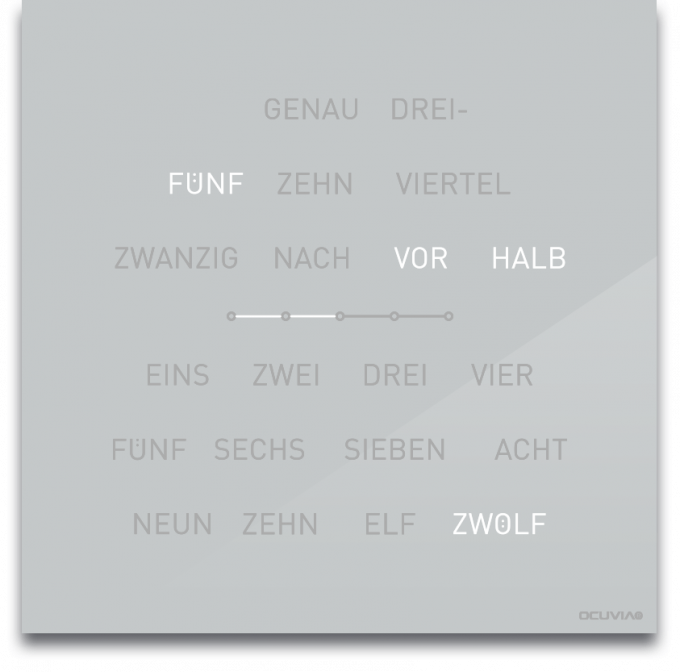 OCUVIA® · Wortuhr Lisa · Lichtgrau glänzend · Wortuhren-Manufaktur Berlin
