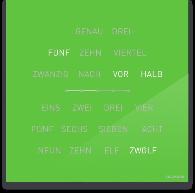 OCUVIA® · Wortuhr Lisa · Lindgrün glänzend · Wortuhren-Manufaktur Berlin