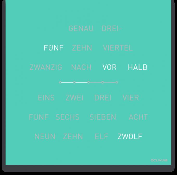 OCUVIA® · Wortuhr Lisa · Mint matt · Wortuhren-Manufaktur Berlin