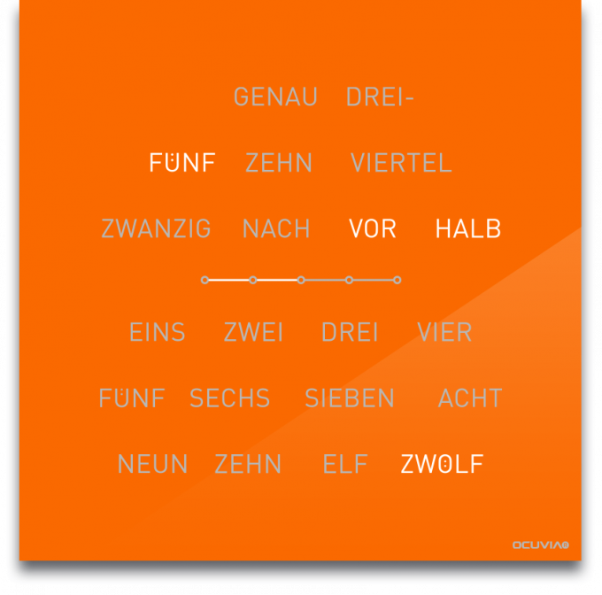 OCUVIA® · Wortuhr Lisa · Pastellorange glänzend · Wortuhren-Manufaktur Berlin
