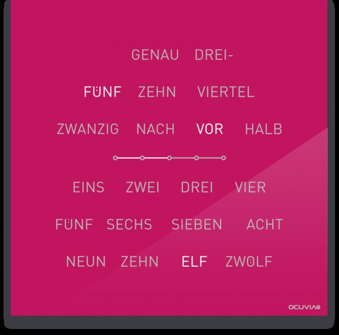 OCUVIA® · Wortuhr Lisa · Pink glänzend · Wortuhren-Manufaktur Berlin