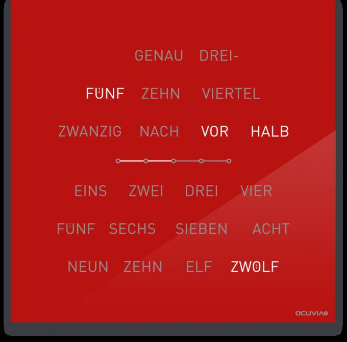 OCUVIA® · Wortuhr Lisa · Rot glänzend · Wortuhren-Manufaktur Berlin