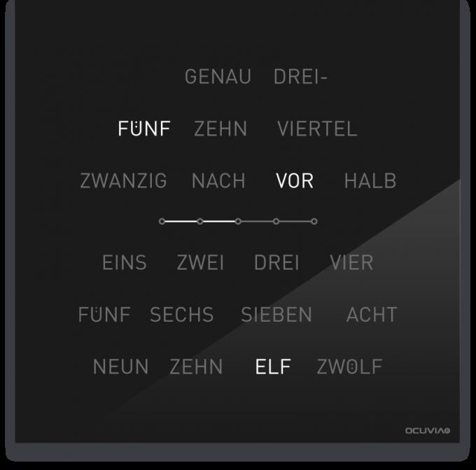 OCUVIA® · Wortuhr Lisa · Schwarz glänzend · Wortuhren-Manufaktur Berlin