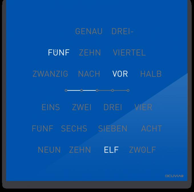 OCUVIA® · Wortuhr Lisa · Signalblau glänzend · Wortuhren-Manufaktur Berlin