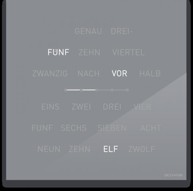 OCUVIA® · Wortuhr Lisa · Silbergrau glänzend · Wortuhren-Manufaktur Berlin