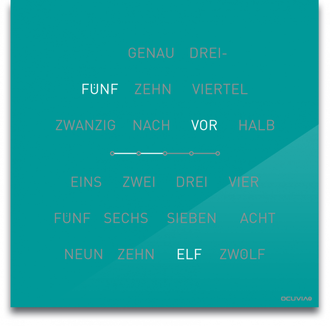 OCUVIA® · Wortuhr Lisa · Türkis glänzend · Wortuhren-Manufaktur Berlin