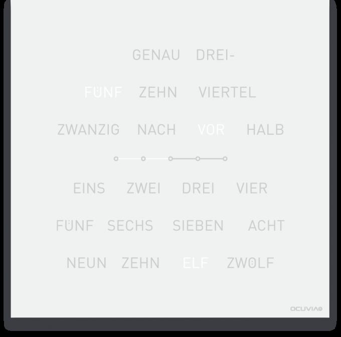 OCUVIA® · Wortuhr Lisa · Weiß matt · Wortuhren-Manufaktur Berlin