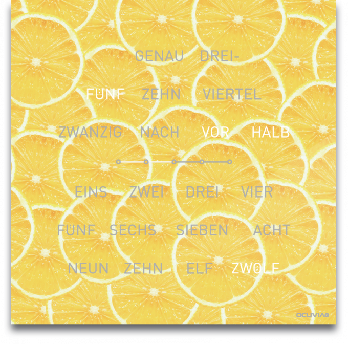 OCUVIA® · Wortuhr Lisa · Lemoni Zitronen · Wortuhren-Manufaktur Berlin