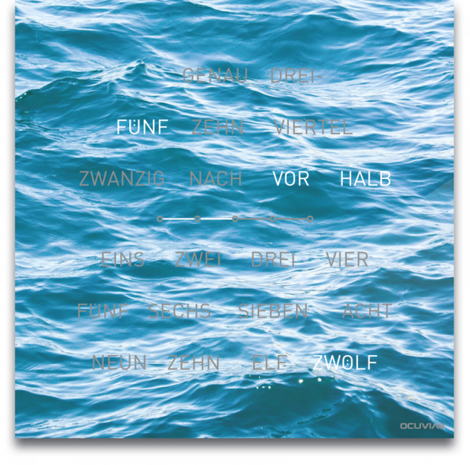 OCUVIA® · Wortuhr Lisa · Mare Meer · Wortuhren-Manufaktur Berlin
