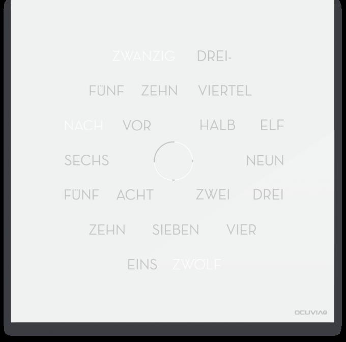 OCUVIA® · Wortuhr Anna · Weiß glänzend · Wortuhren-Manufaktur Berlin