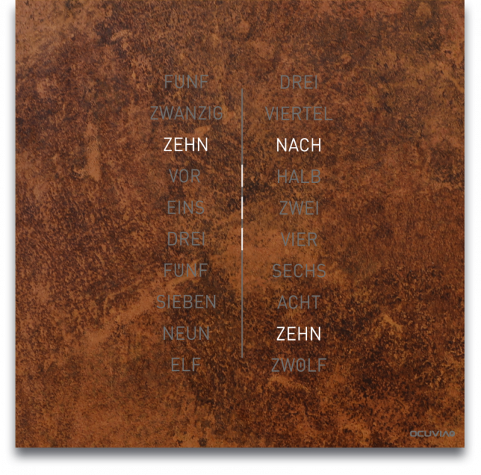 OCUVIA® · Wortuhr Ella · Rostoptik · Wortuhren-Manufaktur Berlin