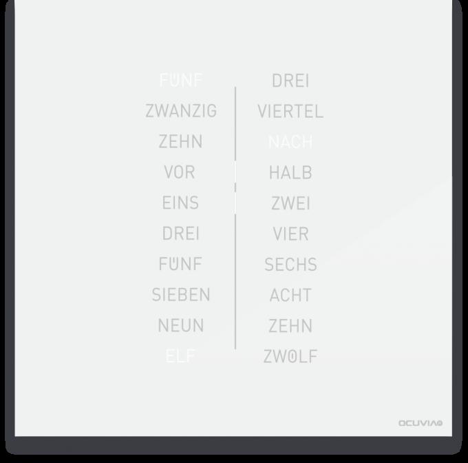 OCUVIA® · Wortuhr Ella · Weiß glänzend · Wortuhren-Manufaktur Berlin