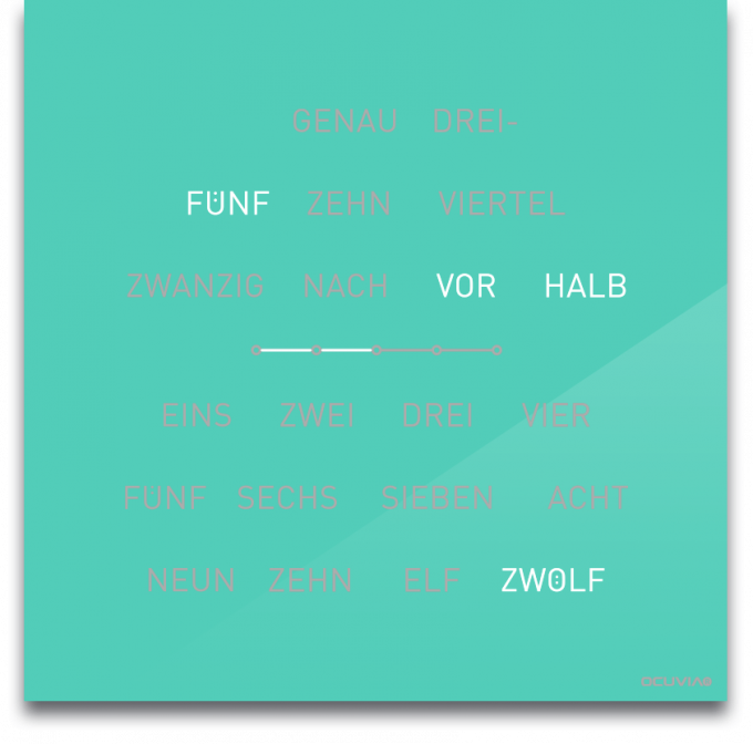 OCUVIA® · Wortuhr Lisa · Mint glänzend · Wortuhren-Manufaktur Berlin