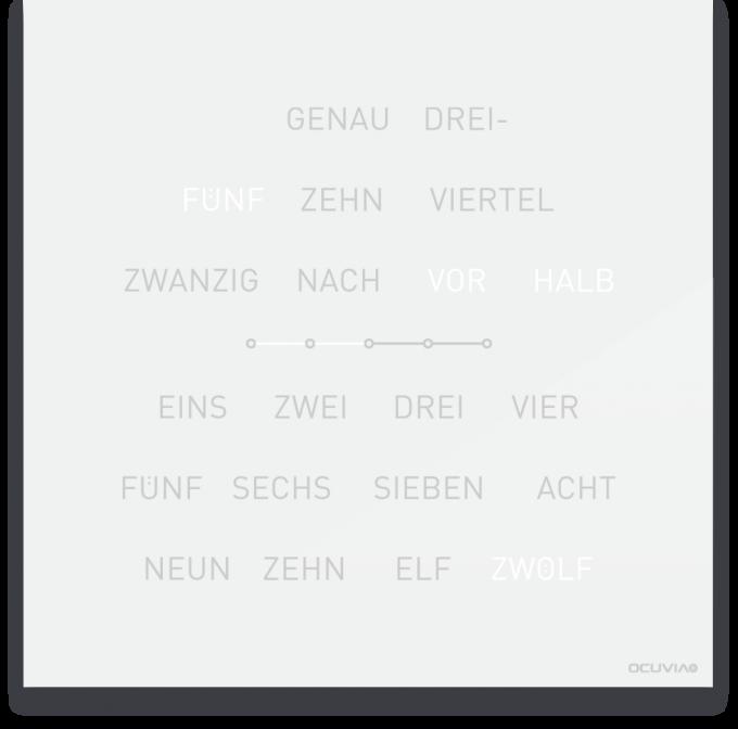 OCUVIA® · Wortuhr Lisa · Weiß glänzend · Wortuhren-Manufaktur Berlin