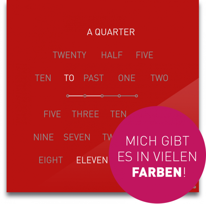 OCUVIA® · Wortuhr Lisa · Englisch · Wortuhren-Manufaktur Berlin