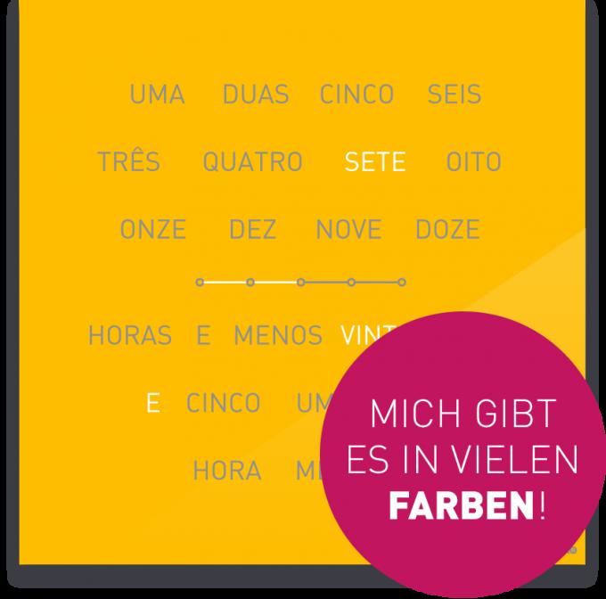 OCUVIA® · Wortuhr Lisa · Portugiesisch · Wortuhren-Manufaktur Berlin