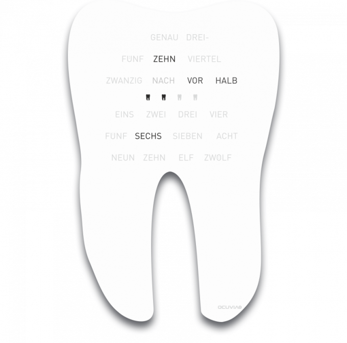 OCUVIA® · Wortuhr Sondermodell · Zahn der Zeit für die Zahnarzt-Praxis · Weiß glänzend · Wortuhren-Manufaktur Berlin